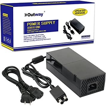 OUTWAY Xbox One Power Supply Brick, [Advanced Version] AC Adapter Power  Supply Charger Cord Replacement for Xbox One 100-240V, Black