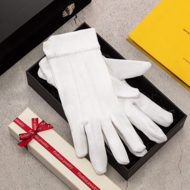 SATINIOR Guanti da 10 Paia in Cotone Bianco Marching Formal