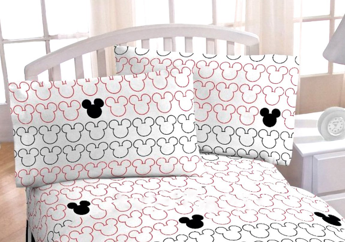 Disney MICKEY MOUSE LUV RED & BLACK REVERSIBLE QUILT SET 100% COTTON Comes with PILLOW SHAM and SHEET SET(60% Cotton 40% Polyester) + 1 TOSS PILLOW (TWIN SIZE)