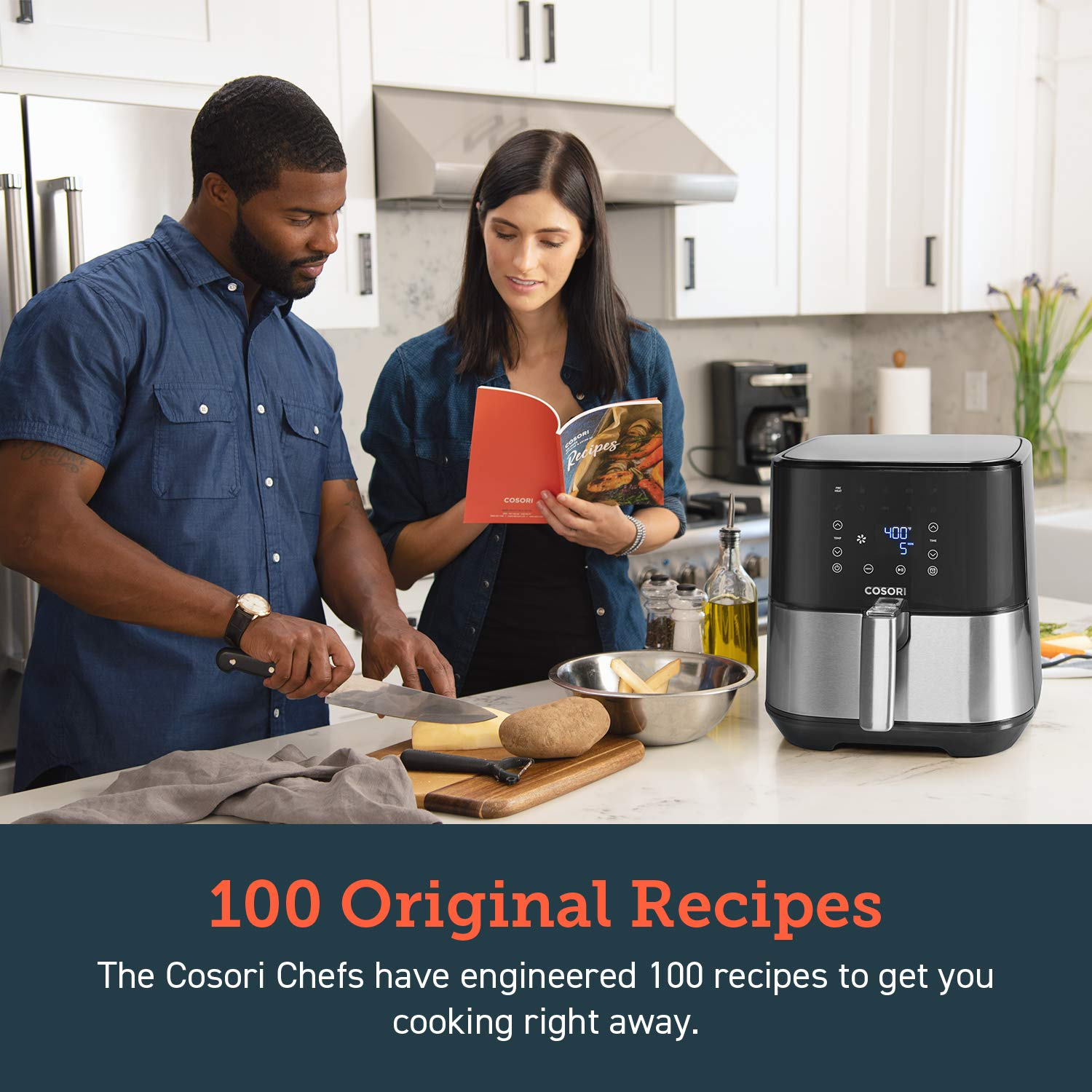 COSORI Stainless Steel Air Fryer (100 Recipes, Rack & 5 Skewers), 5.8Qt Large Air Fryers XL Oven Oilless Cooker, Preheat/Alarm Reminder, 9 Presets, Nonstick Basket, 2-Year Warranty, ETL/UL Listed by COSORI (Image #4)
