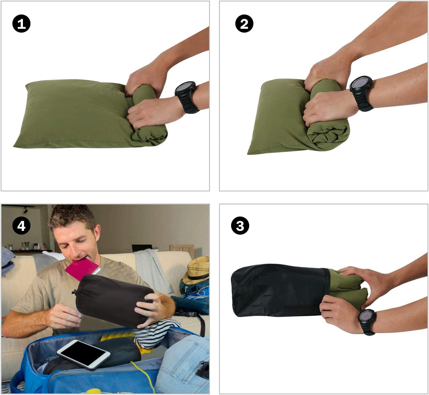 CAMPMAX Small Camping Pillow for Sleeping Comfortable Cotton Lightweight Compressible Travel Pillows with Removable and Washable Pillow Cover Green 1 Set