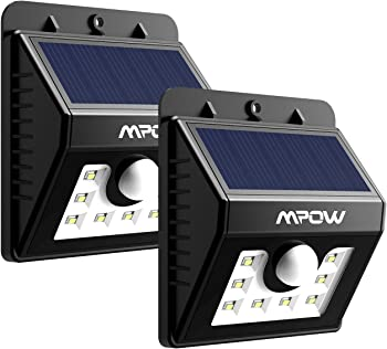 2-Pack Mpow 8 LED Bright Solar Powered Security Lights