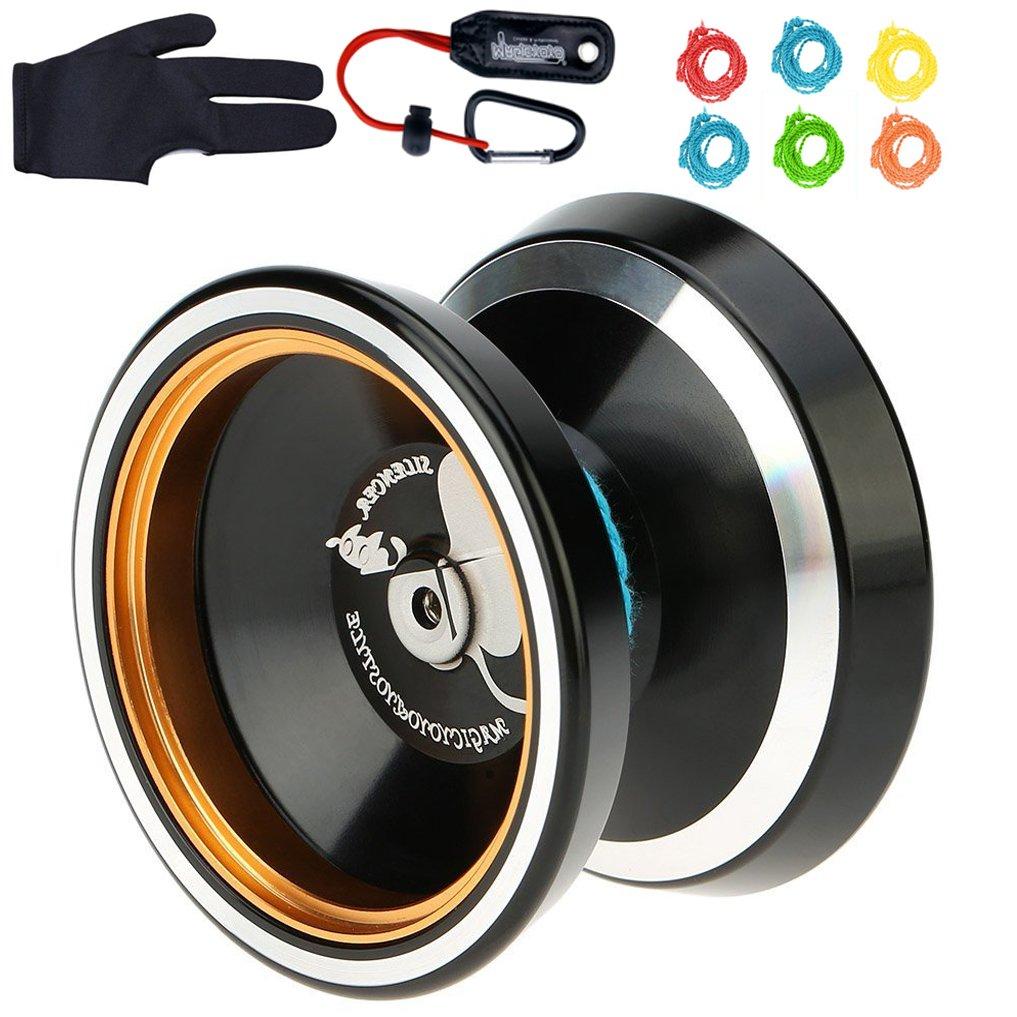 MAGICYOYO Silencer M001-B Yo-yo Ball Aluminum6061 Unresponsive Yo-yo Stainless Center Bearing Stainless Axle (M001B Black)