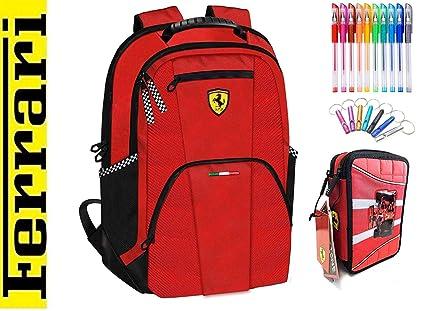 Mochila Grande Escolar Ferrari roja + Estuche 3 Pisos ...