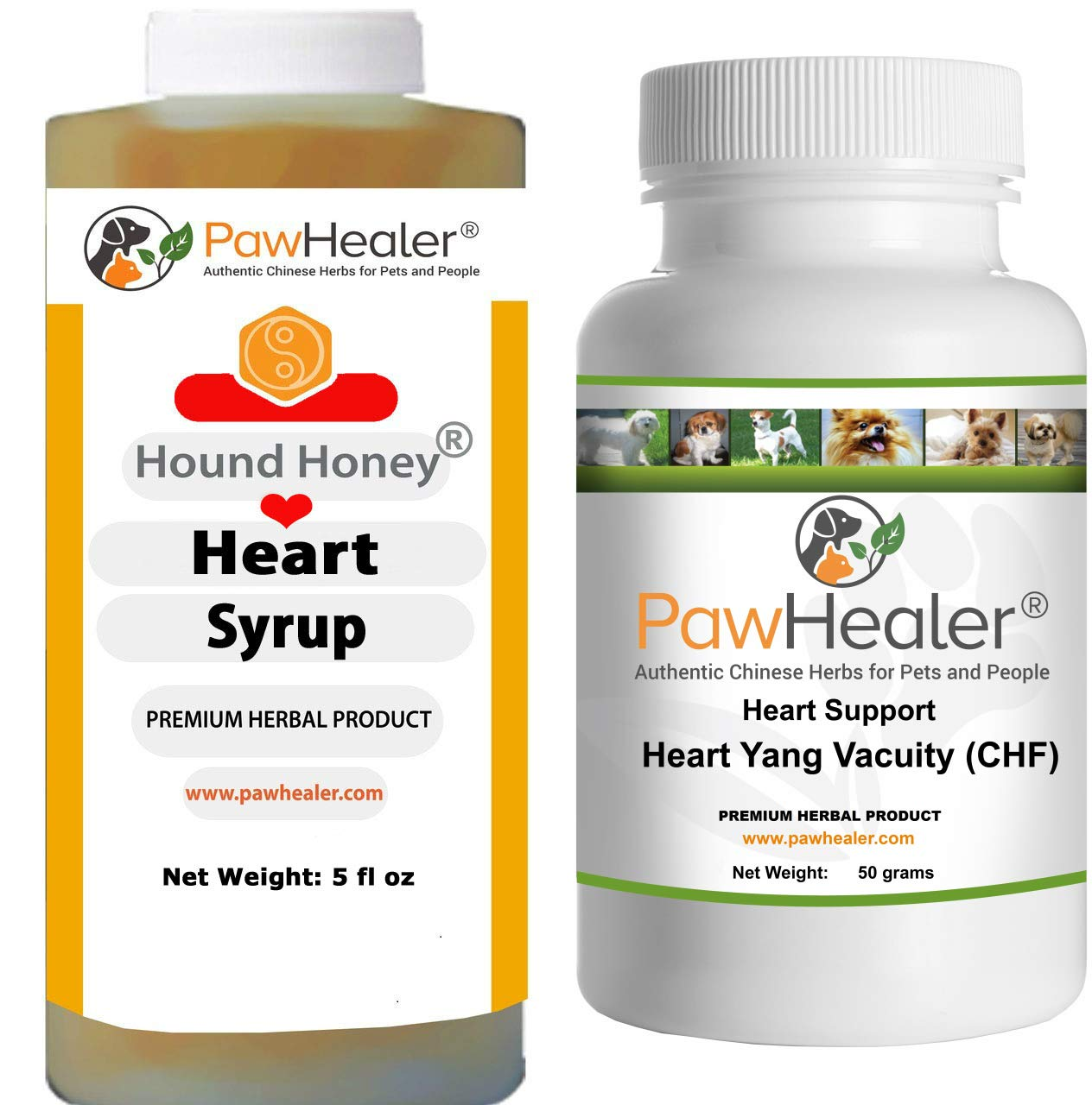 Heart Support - Bundle - Heart-Yang Vacuity (CHF) - 50 Grams Herbal Powder + Hound Honey: Heart Syrup - 5 fl oz (150 ml) - Coughing, Gagging, Wheezing Due to Heart Condition - Remedy for Dogs & Pets... by PawHealer®