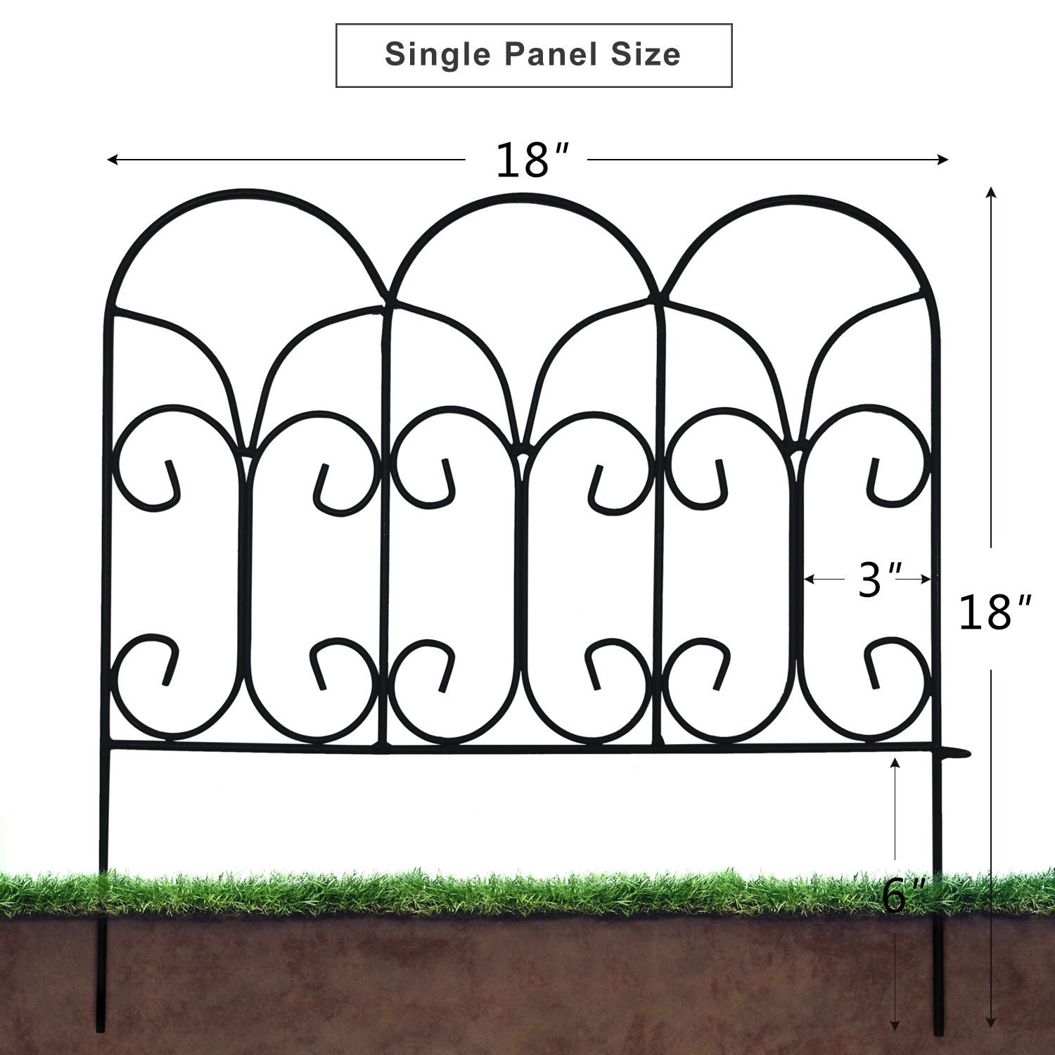 Amagabeli Decorative Garden Fence Coated Metal Outdoor Rustproof 18in x 7.5ft Landscape Wrought Iron Wire Border Fencing Folding Patio Fences Flower Bed Barrier Section Panel Decor Picket Edging Black by AMAGABELI GARDEN & HOME (Image #2)