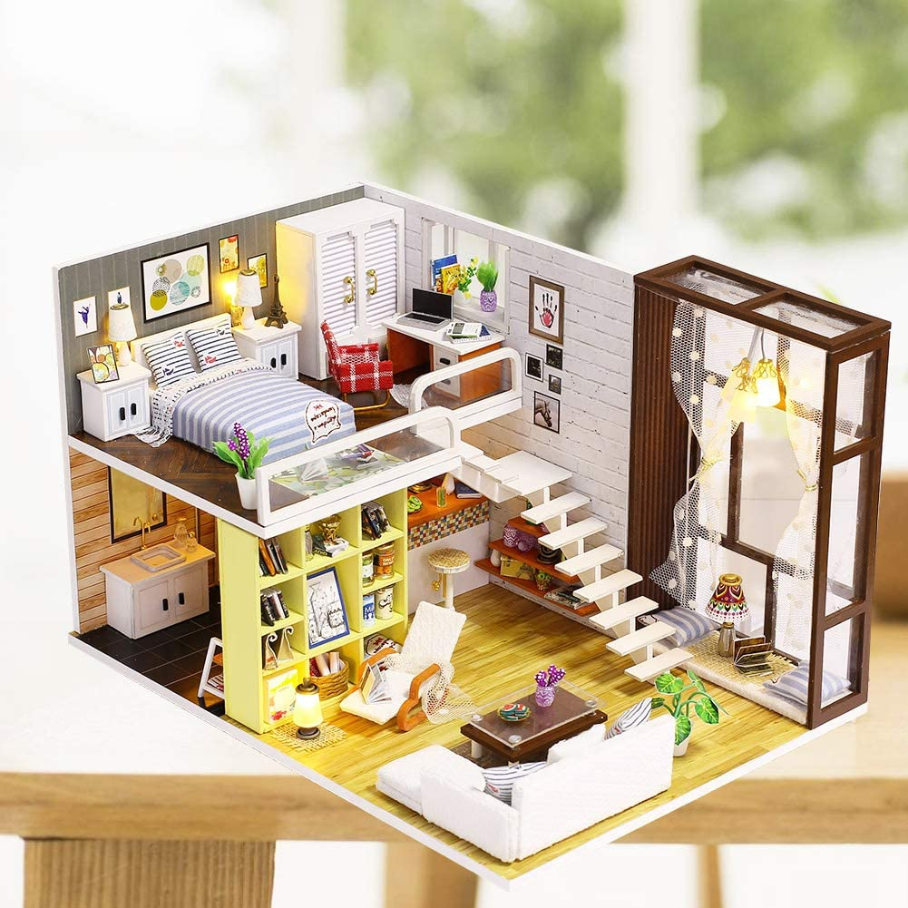 Dollhouse Miniature DIY Little Pub With Furniture 1:24 Scale Kids Birthday Gifts