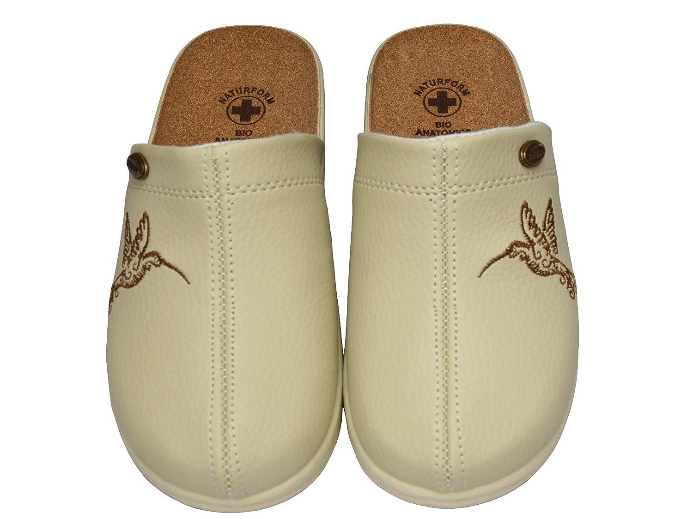 Damen Pantolette Sandalen Komfort Kork Hausschuhe Beige Schwarz Motif Arbeit 36,37,38,39,40,41 Modell 3512-PT