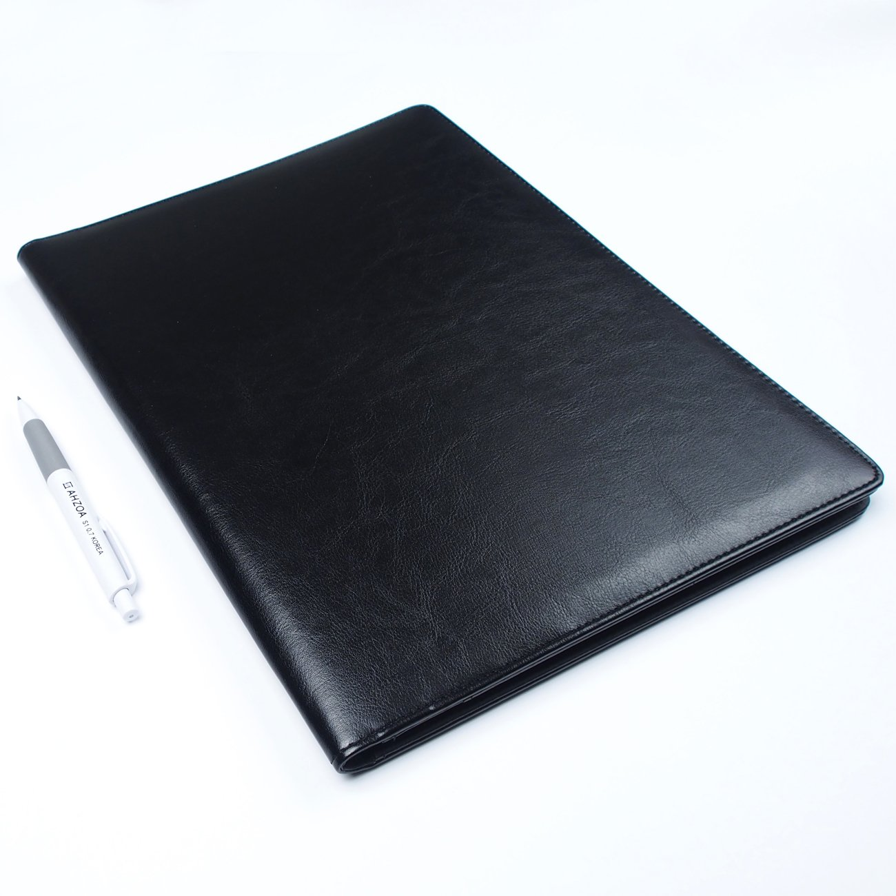 AHZOA 4 Pockets A4 Size Memo Padfolio S3 with Mechanical Pencil, Including 8.27 X 11.7 inch Legal Writing Pad, Synthetic Leather Handmade 9.84 X 12.99 inch Notepad Clipboard (Black) by AHZOA (Image #7)