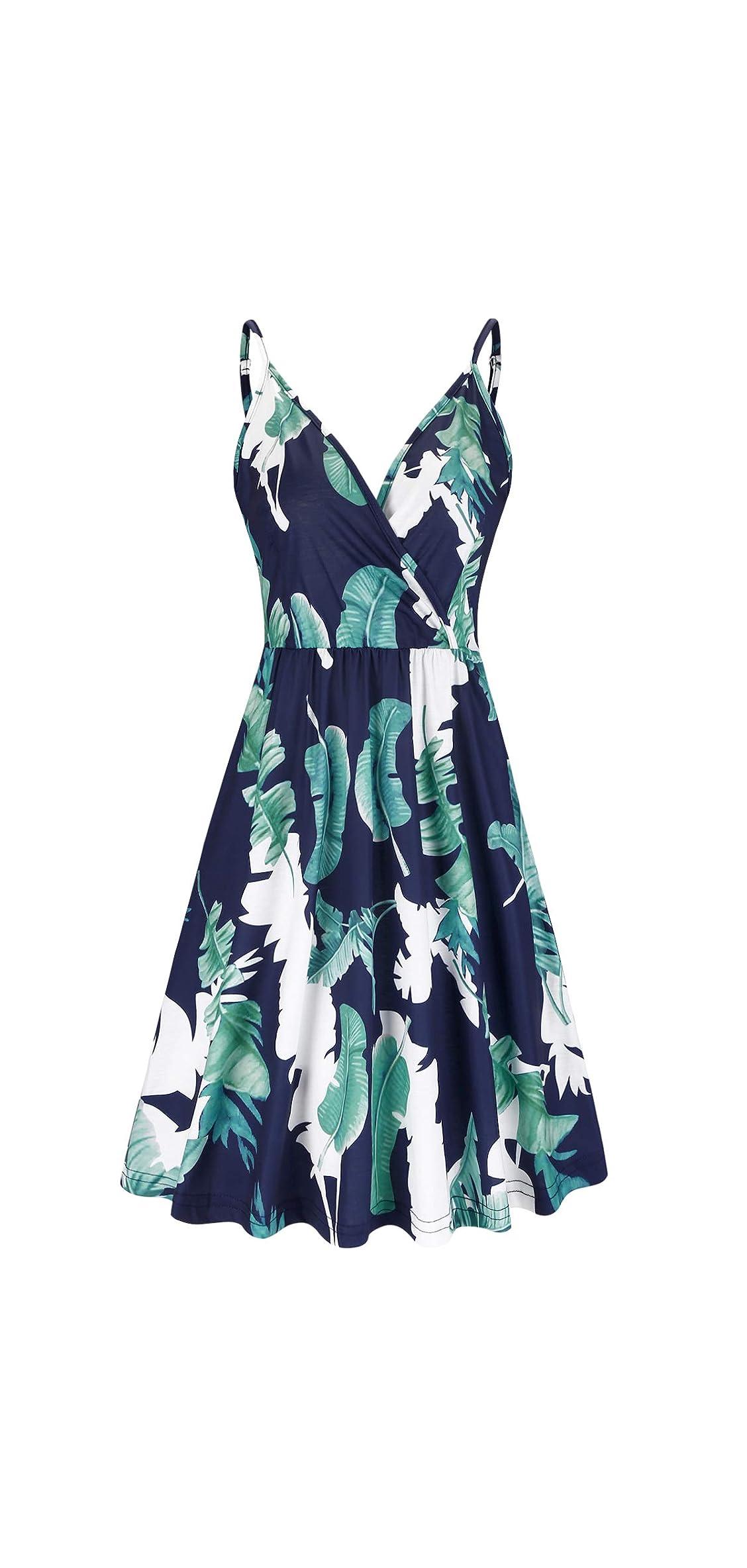 Women's V-neck Floral Spaghetti Strap Dress Summer