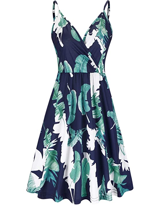 Styleword Women's V Neck Floral Spaghetti Strap Summer Casual Swing Dress With Pocket by Styleword