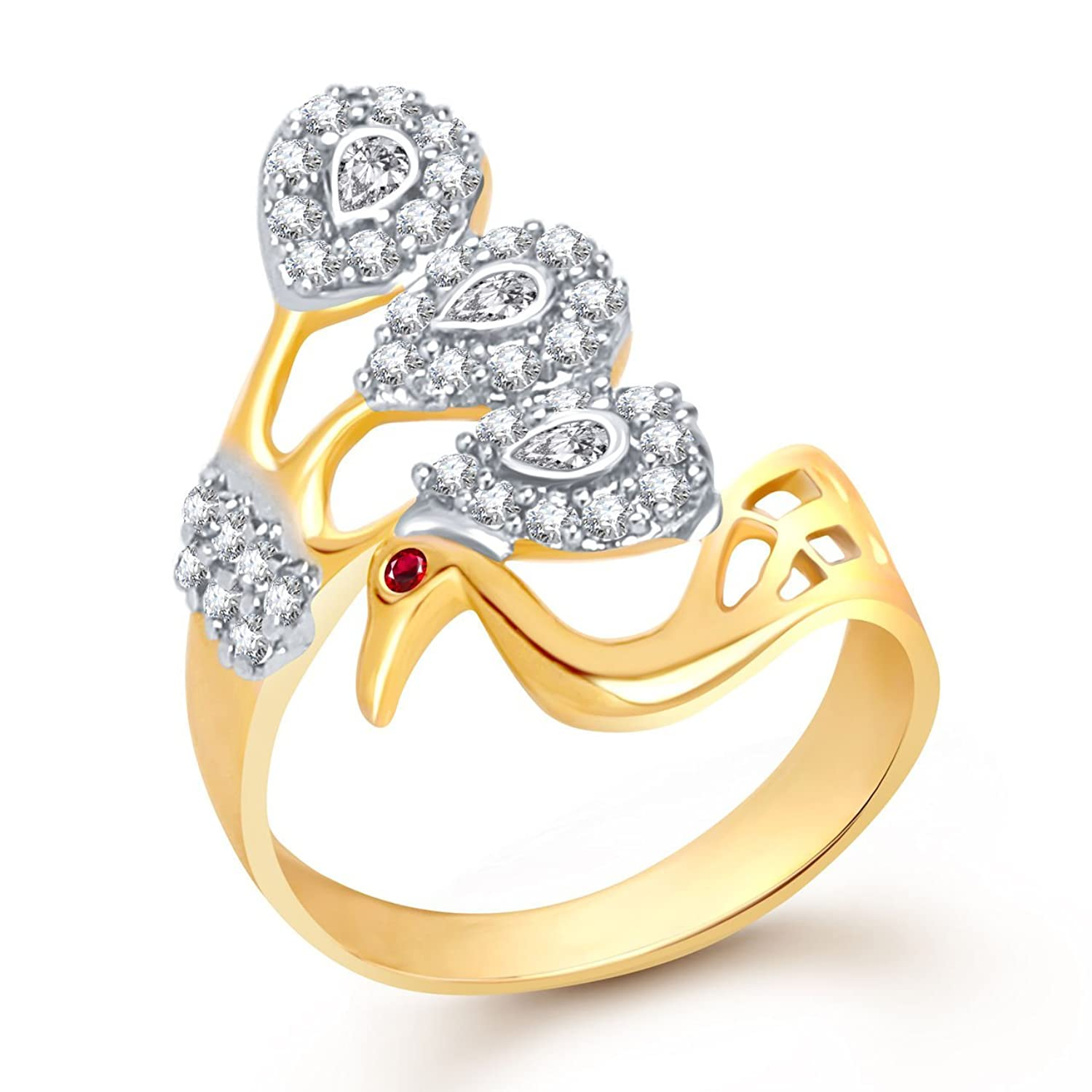 Meenaz Peacock Mayur Ring For Valentine Love Gold For Girls ...