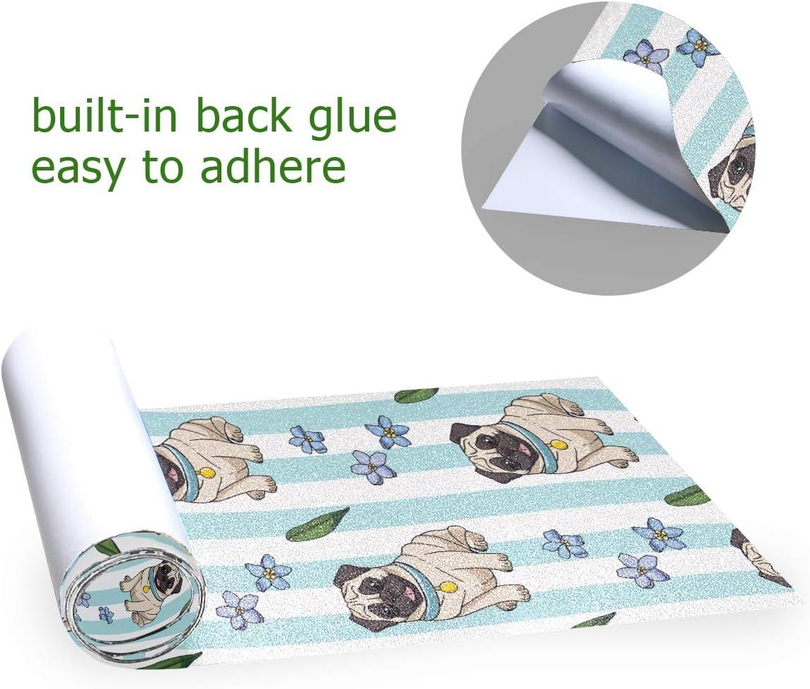 Cartoon Pugs Forget-Me-Nots Sandpaper for Rollerboard Longboard Griptape Bubble Free Scooter Grip Tape Skateboard Grip Tape Sheet 33 X 9 Inch