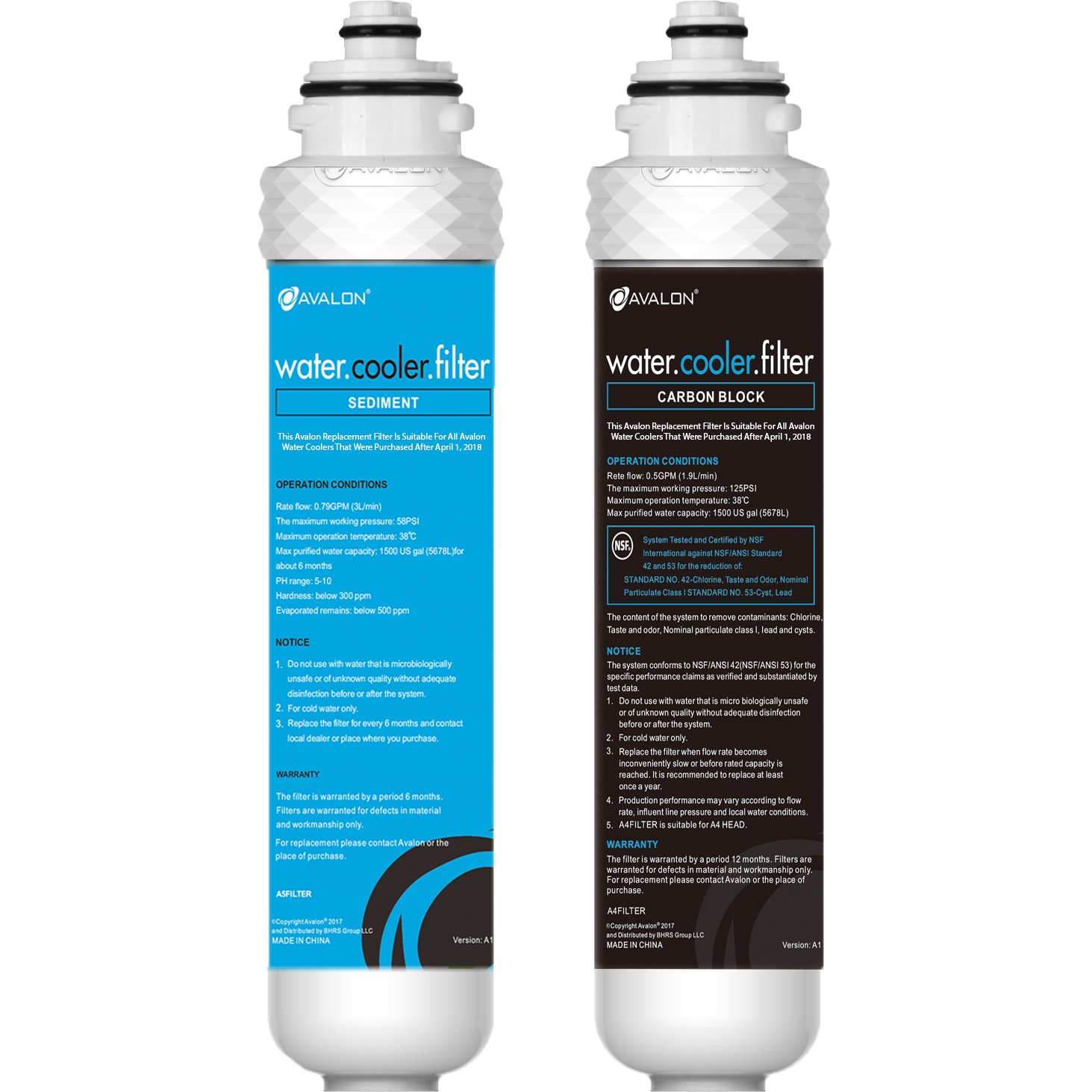 Avalon 2 Stage Replacement Filters For Avalon Branded Bottleless Water Coolers ** WILL ONLY FIT COOLERS PURCHASED AFTER APRIL 1, 2018**, NSF Certified, 1500 Gallons