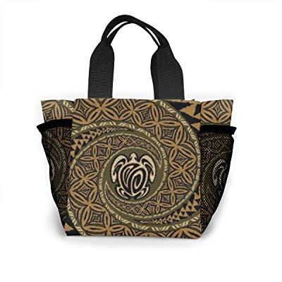 Vbcdgfg Tote Lunch Bag,Hawaiian Tapa Honu Turtle Print Large Cooler Bag Container Thermal Cooler Pack Picnic Bag for Women&Men Travel Office Beach: Baby