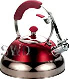 3.5L red modern stainless steel whistling kettle suitable for induction gas and electric hobs