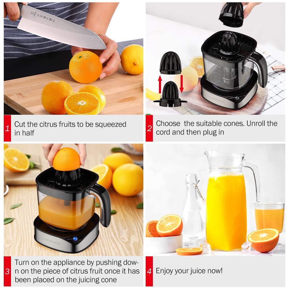 Spremiagrumi elettrico 1,2 L grande volume con due coni Spremiagrumi in acciaio inox resistente potente motore per Fresh Orange Lemon con luce LED di LUUKMONDE