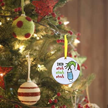 1pc LINGDANG Hand Christmas Ornament 2020 Stink Stank Stunk The Grinches Mack Social Distancing Christmas Holiday Ornaments Creative Decorating Kit Customized Mini Ornament for Family