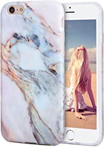 iPhone 6s Plus Case, Imikoko Flexible Case Print Crystal for iPhone 6s Plus (5.5 inch) - White Marble Pattern Slim Fit Snap On Hard Shell Back Case for iPhone 6/6S Plus (Pink)