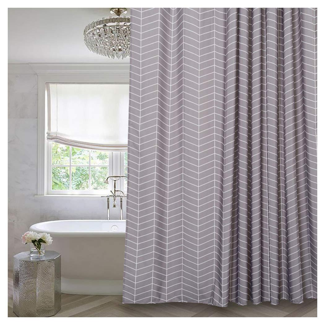 Amazon Aimjerry Grey Stripe Mildew Resistant Fabric Shower Curtain Water Repellent72x72Washable Home Kitchen