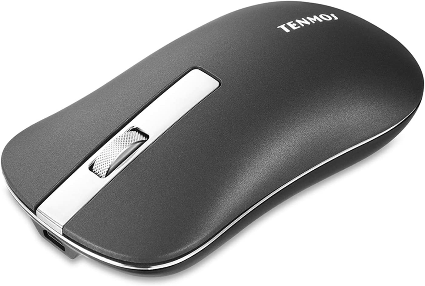 TENMOS T5 Slim Wireless Mouse, 2.4G Silent Travel Mouse with USB Receiver Type-C Adapter, Rechargeable Wireless Computer Mice for Laptop/Chromebook/Mac (Dark Grey)