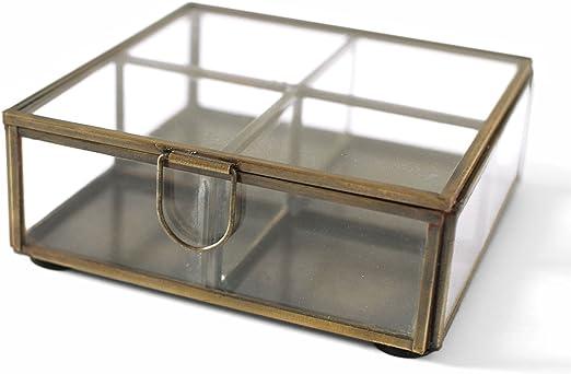 Envejecido Vintage latón Metal espejo de cristal caja de joyería cuadrada (14 cm): Amazon.es: Hogar