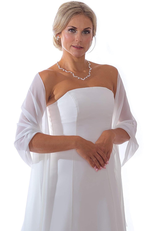 Unbekannt Schal Brautkleid Bolero aus Chiffon Satin Stola Chiffon Ivory Jacke Braut Brautbolero J/äckchen