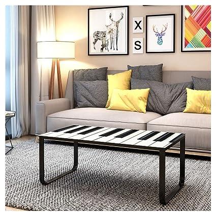 Shinawood - Mesa Auxiliar Rectangular de Cristal arcoíris, tamaño pequeño, con Patas de Metal, Mueble de salón Moderno, Piano, 105 x 55 x 42 cm (L x W ...