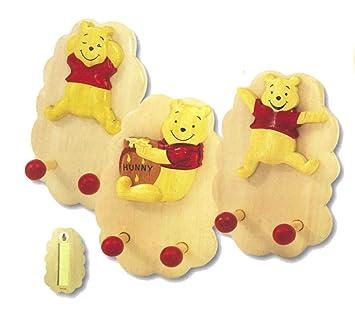 Juego de 3 perchero para niños Winnie the Pooh, de madera, 8 ...