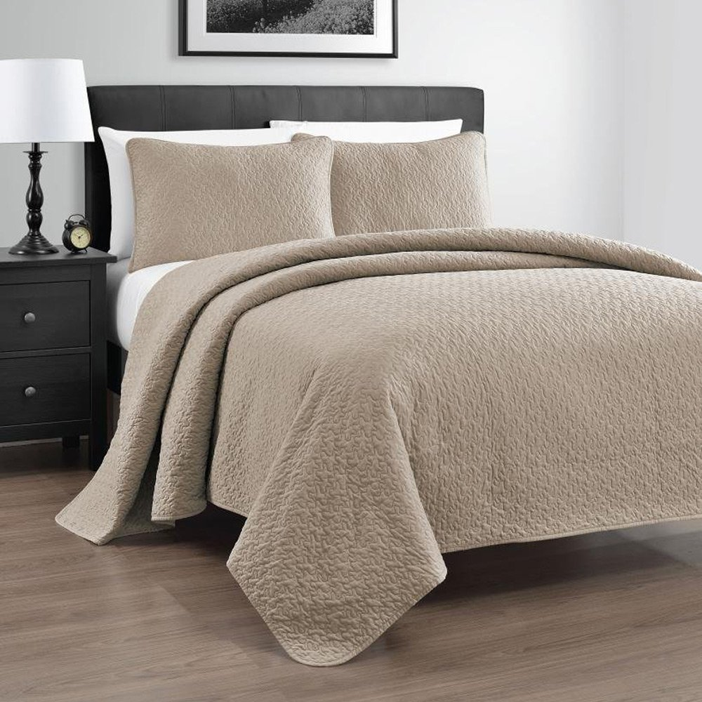 Zaria 3-Piece Quilt / Coverlet Set, King/Cal King, Khaki