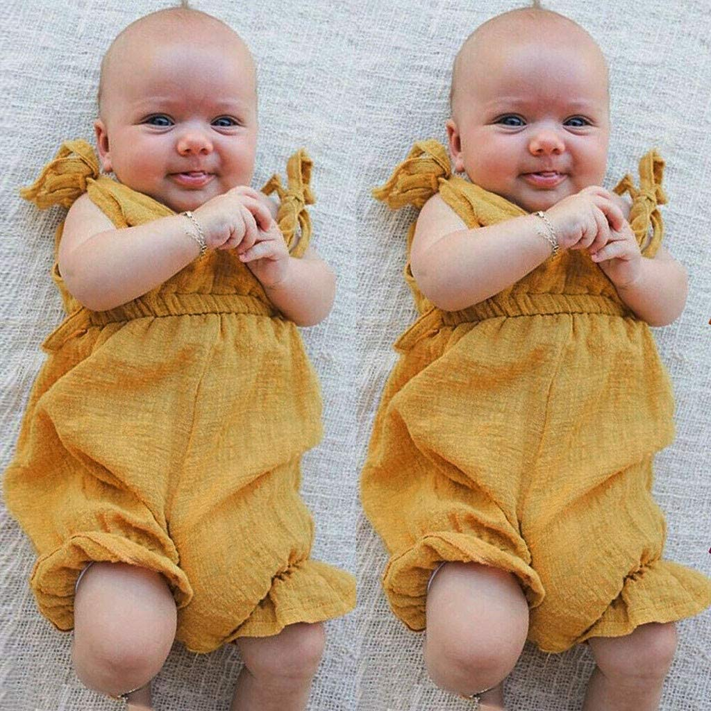 Julhold 0-3 Years Baby Boys Girls Summer New Casual Breathable Solid Romper Bodysuit Cotton Jumpsuit Outfits Sunsuit