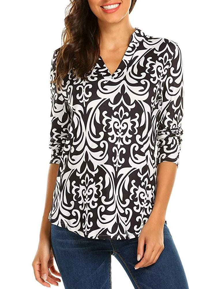 Black White Ruici Women's Casual 3 4 Sleeve Blouses Floral V Neck Loose Tunic Top TShirt