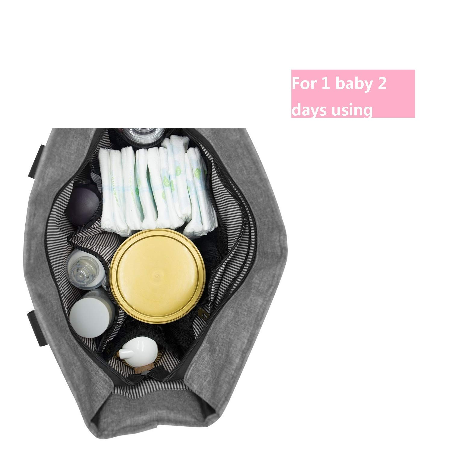 Diaper Bags Multi-Function - Unisex Large Nappy Bag Leather Handle with Changing Mat Shower Gifts for Mom Dad Travel 13 Pockets (Gray) Bable