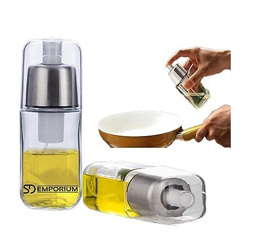 SD Emporium - Rociador de Aceite Premium de Vidrio Duradero con Filtro Anti-obstrucción y Tapa de Acero Inoxidable, dispensador, pulverizador para ...