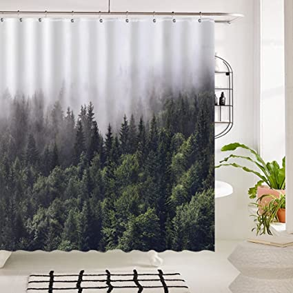 Amazon Tidy Decor Shower Curtains Fog Pine Trees Forest