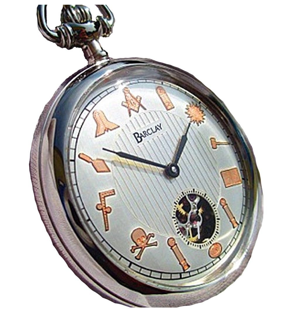 ''The Freemason'' 17 Jewel Manual Wind Pocket Watch Designed After The Famous Dudley Masonic Pocket Watch