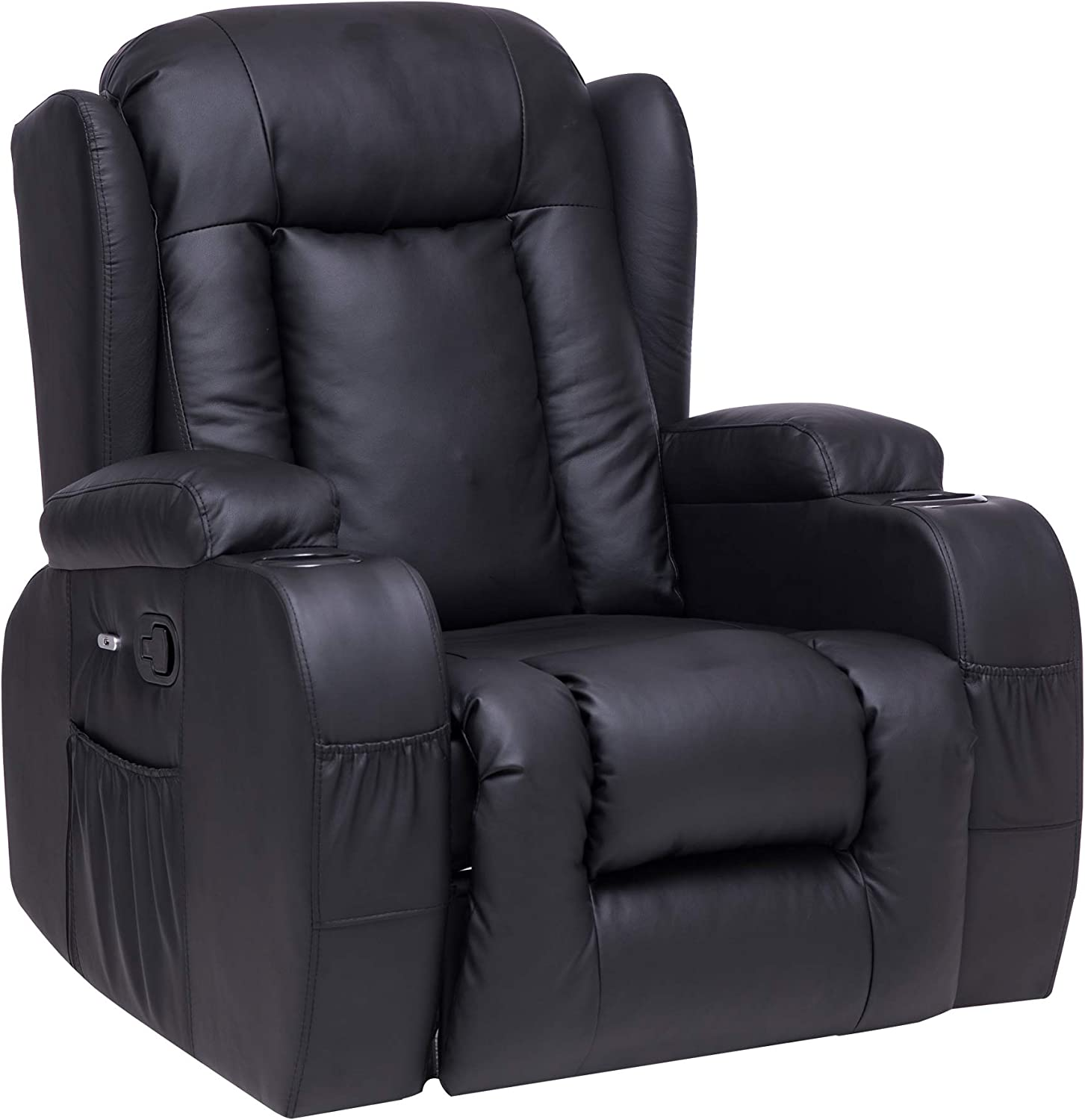 Recliner Chair Sofa PU Leather Chaise Lounge Indoor with Cup Holders and USB Ports for Living Room Home Theater Modern Seat (Black)