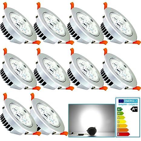 10X 7W LED Spot Einbaustrahler Decken-Strahler Set Einbau Lampe Leuchte 230V