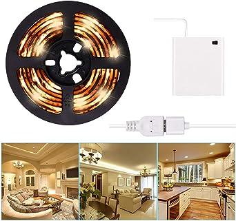 LED Strip Lights USB or Battery Powered USB LED Lighting Strip Kit 3m//9.8ft Waterproof Super Bright LED Tape Light Cool White