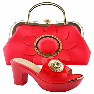 7843ced87c2 Red Color African Shoes and Matching Bags Italian Shoe and Bag Set for Party