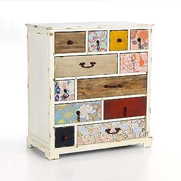 Pureday Vintage Kommode Mit 12 Schubladen Holz Weiss Bunt Ca B80