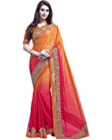 Macube Women's Georgette Saree With Blouse Piece (Ms849_Sale, Multicolor, Free Size)