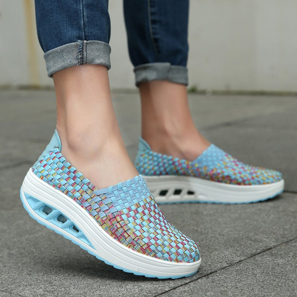 Amazon.com | yoyorule Casual Shoes Women Fashion Woven Shake Shoes Leisure Wedge Sports Shoes Running Casual Shoes | Shoes