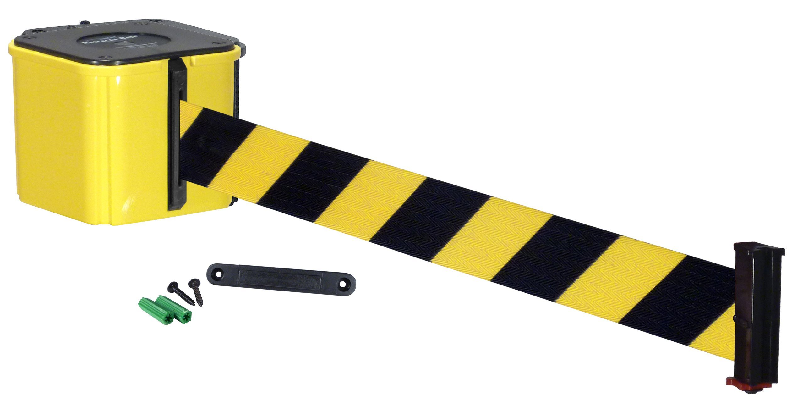 Visiontron WM412-auto-15YW-BYD Economy Wall Mount 15' Automatic Retracting Unit w/Standard Fixed/Removable Wall Plate - Yellow with Black/Yellow Stripe Belt, Standard Belt End