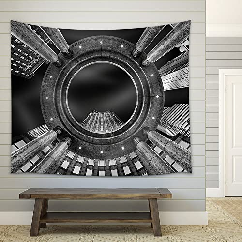 wall26 – Fine Art, Black and White, Abstract, Upward Perspective of New York Skyscrapers – Fabric Wall Tapestry Home Decor – 68×80 inches