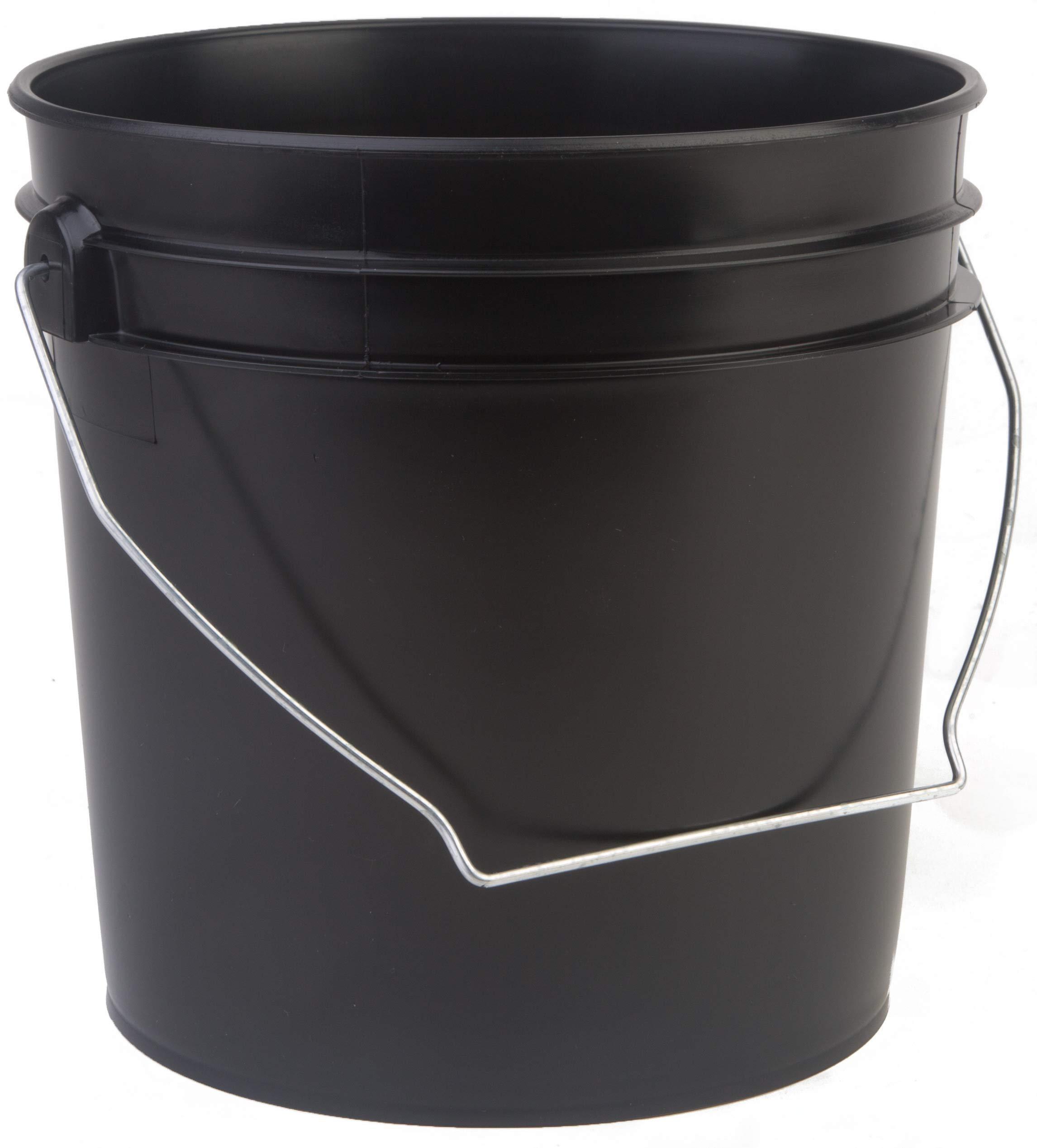 Hudson Exchange Premium 1 Gallon Bucket, HDPE, Black, 6 Pack