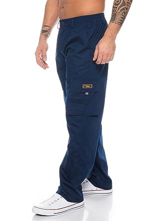 Herren Cargo Hose Cargo Pants Unifarbe Arbeitshose Cargohose Cargopants  Dehnbund (Blau, M) aa54273f6e