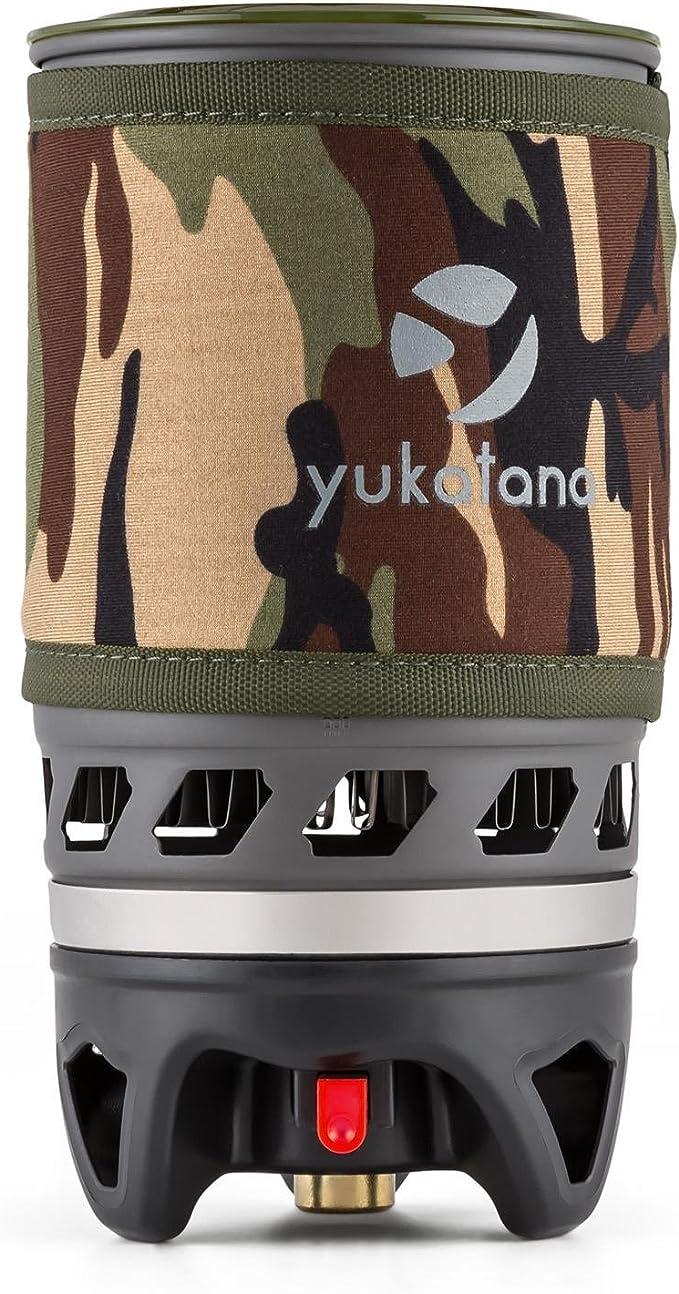 Yuka Tana Yuka Cook Hornillo de gas tienda Espacio camping hervidor con recipiente de cocción (1100ml Negro o 900 ml camuflaje, con encendedor, para ...