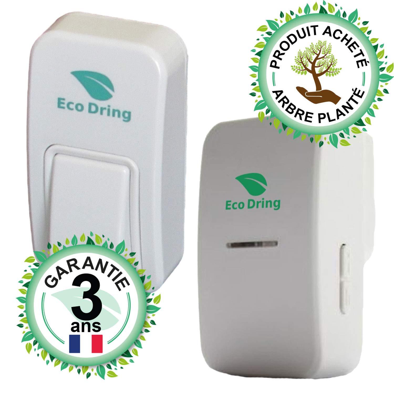 EcoDring Sonnette sans Fil sans Pile ECO ✮ Garantie Française 3 Ans ✮ portée jusqu'à 80 mètres, résistant à l'eau IPX7 + Stickers pour nom + phosphorescents 25 mélodies product image