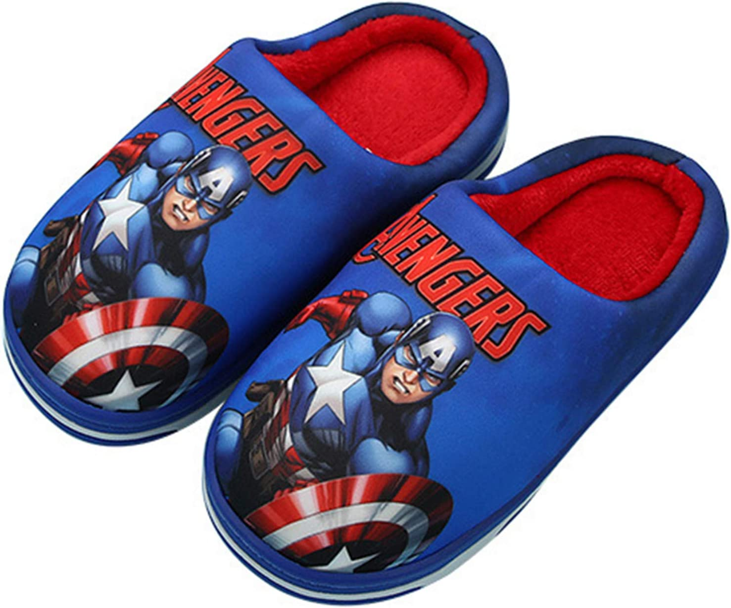 YEMAO Zapatillas de algod/ón para ni/ños Spiderman Capit/án Am/érica Zapatos Gruesos Antideslizantes c/álidos para Interiores Zapatos de casa de Dibujos Animados,A-32EU